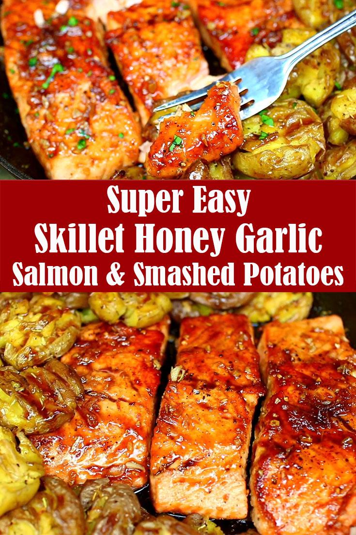 Easy Skillet Honey Garlic Salmon and Smashed Potatoes