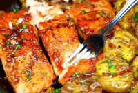 Easy Skillet Honey Garlic Salmon and Smashed Potatoes