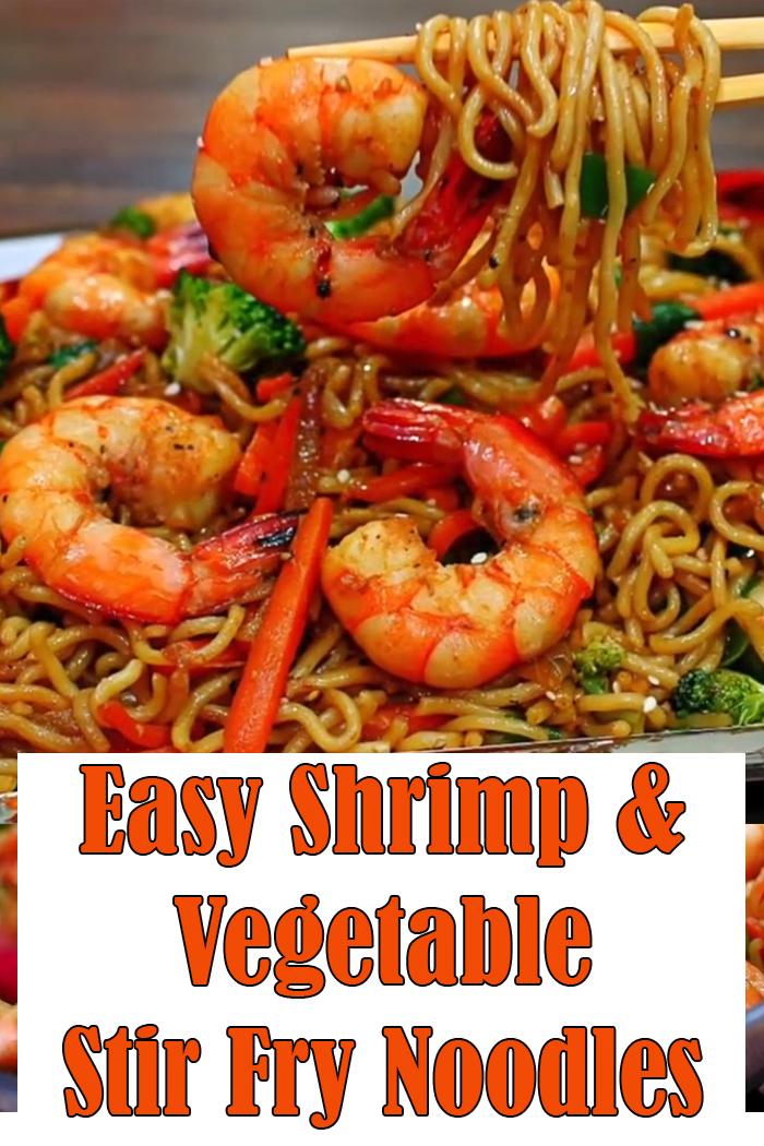 Easy Shrimp and Vegetable Stir Fry Noodles