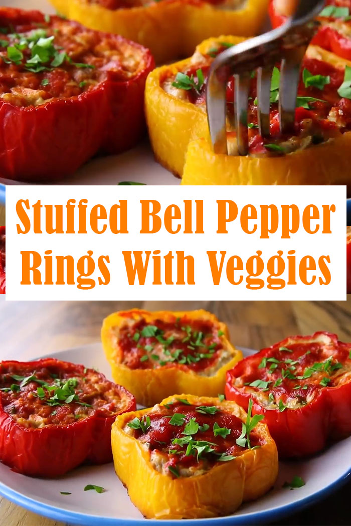 Stuffed Bell Pepper Rings With Veggies